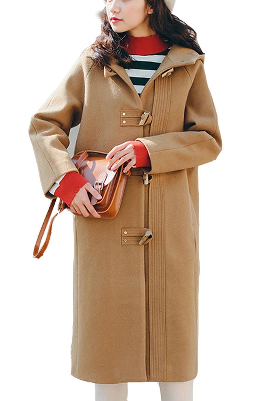 Lisa Pulster レディース ダッフルコート 大人 ロング コート 秋 冬 中綿 フード付き 厚手 暖かい 防風 無地 カレッジ風 通学 ファッション ゆったり カジュアル B078YRJ27D L キャメル キャメル L