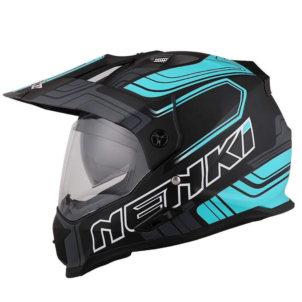 Noir Vert Mat, L NENKI NK-313 Casque Moto Cross Enduro Adventure avec Double Visi/ères,ECE homologu/é