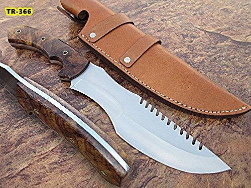 TR-366, CUSTOM HANDMADE HI CARBON STEEL TRACKER KNIFE – SOLID ROSE WOOD HANDLE