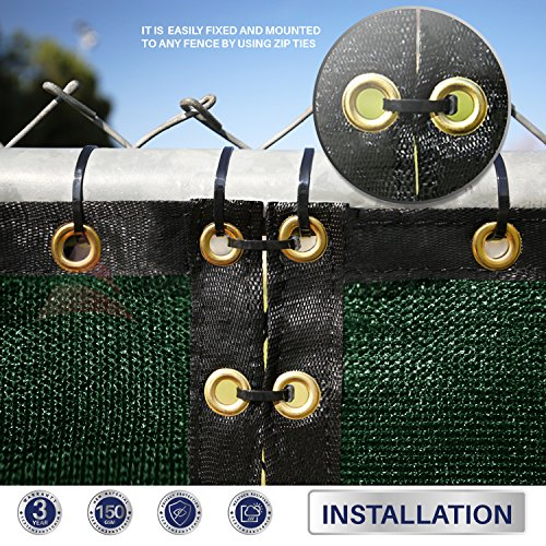 Windscreen4less Heavy Duty Privacy Screen Fence in Color Solid Green 4' x 50' Brass Grommets w/3-Year Warranty 150 GSM (Customized Sizes Available) by Windscreen4less (Image #3)