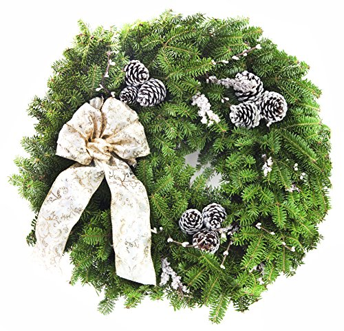 KaBloom Holiday Collection: ''Winter Elegance'' 24in Real Balsam Holiday Wreath - Made in Maine by KaBloom