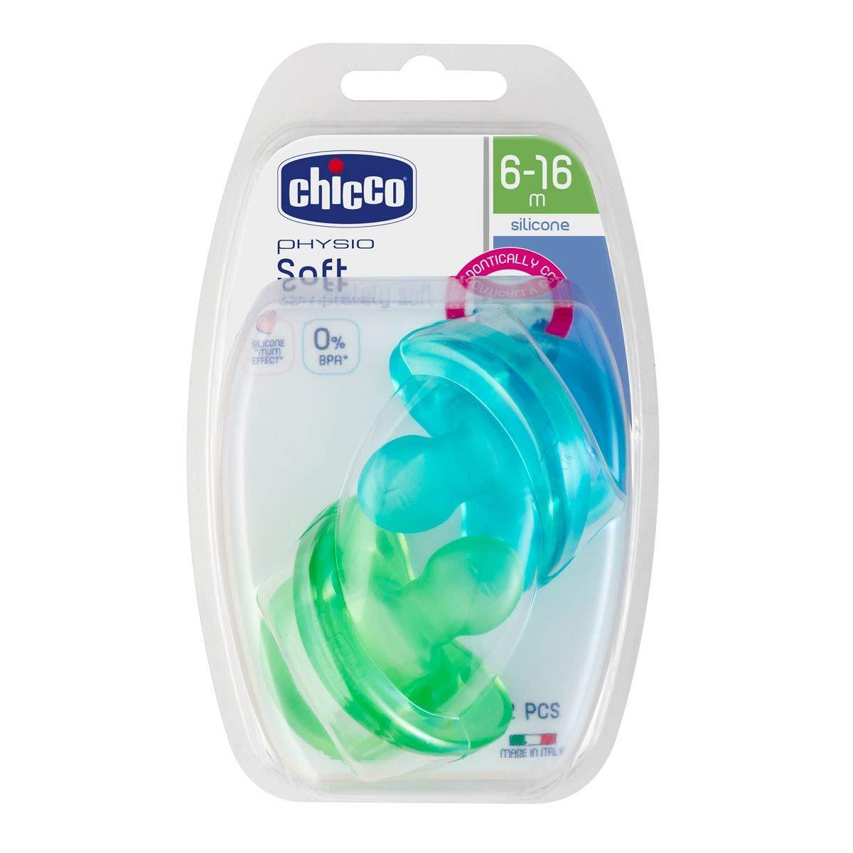Pack de 2 chupetes todo goma de silicona 6-12m Color Rosa y Morado Chicco Physio Soft
