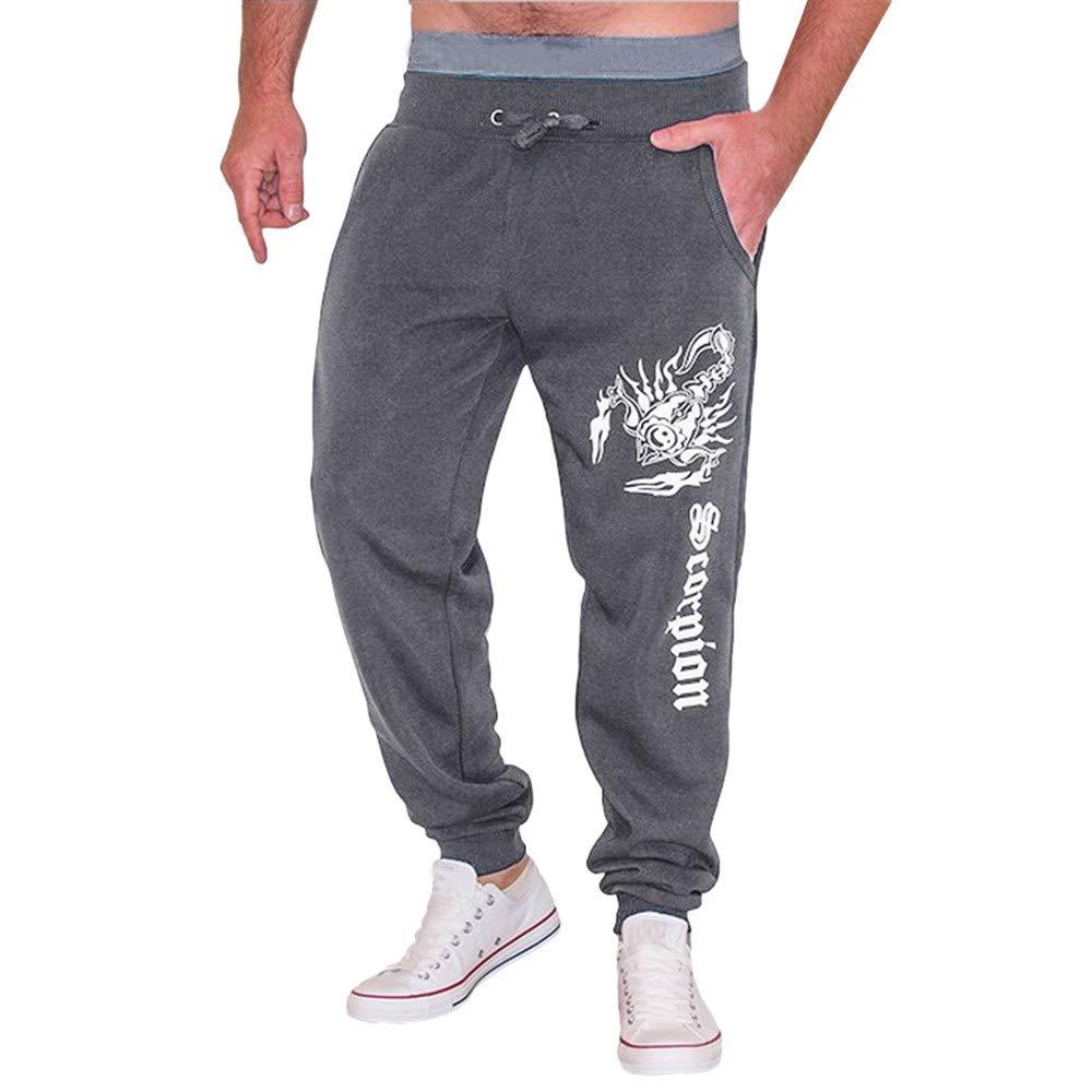 PASATO Clearace Sale! Men's Casual Autumn Winter Cotton Print Hip Hop Sports Trousers Joggers Pants(Dark Gray, L)