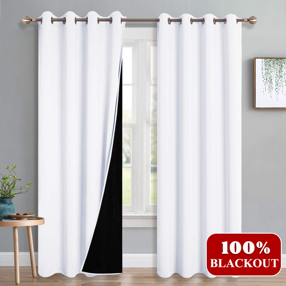 PONY DANCE Blackout Curtains White 95'' - 100% Light Block Lined Drapes for Living Room Full Shading Total Window Treatments Grommets with 2 Layer, Wide 52 - Long 95 Inch, Pure White, Pack-2
