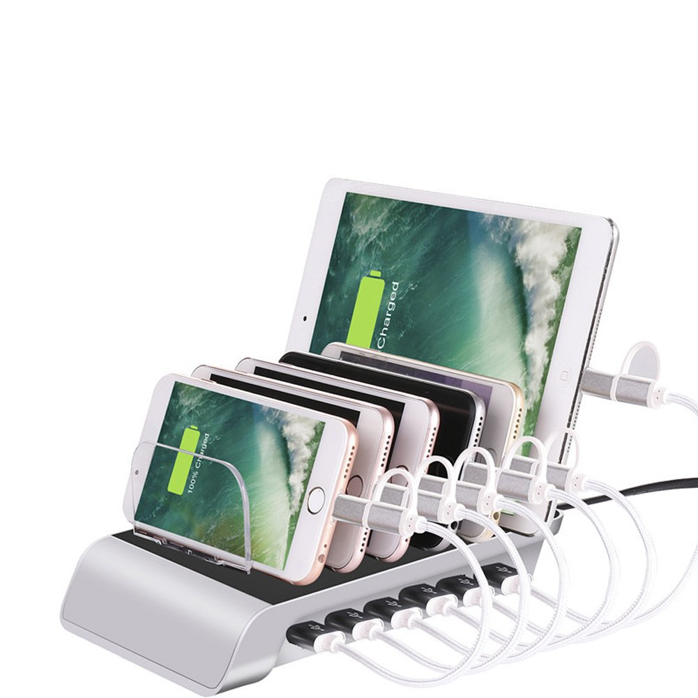 Lalago 6 Ports USB Charging Station, Multi Device Charging Dock Desktop Organizer with iSmart Technology for iPhone iPad Samsung Smartphone Tablet and Other USB-Charged Devices (White)