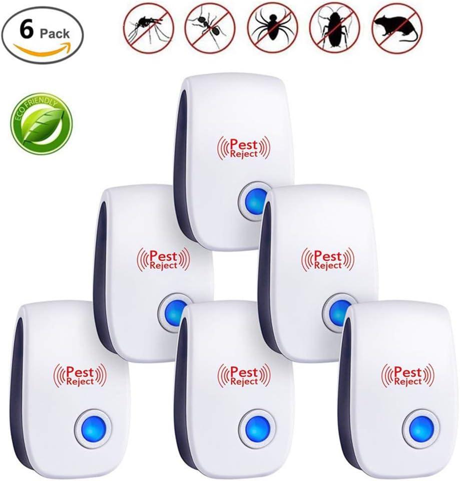 Repelente Ultrasonico, Repelente UltrasóNico De Control De Plagas, 100% Inofensivo para Mascotas Y Humanos para Interiores Anti Cucarachas, Moscas, Mosquitos, Ratones, ArañAs