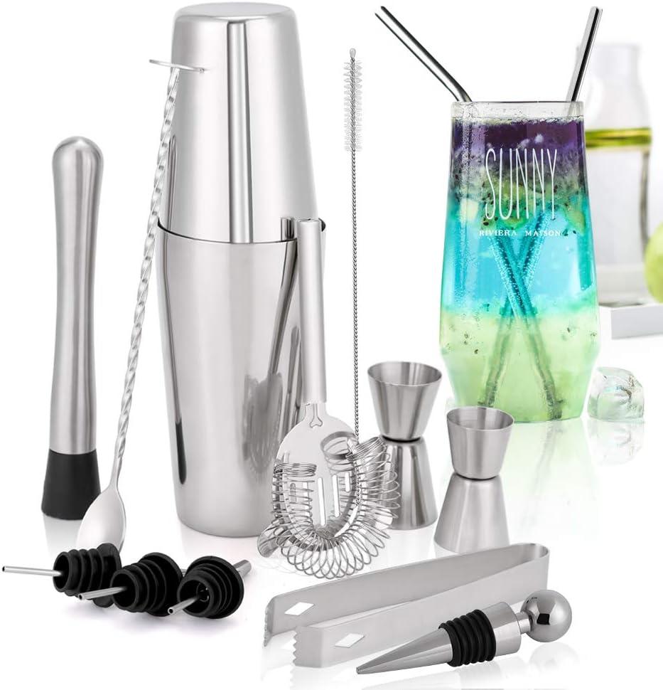 Cocktail Maker Kit| Bartender Cocktail Accessories| Barware set Boston Cocktail Shaker Set Mixology Set| Home Bar Shaker
