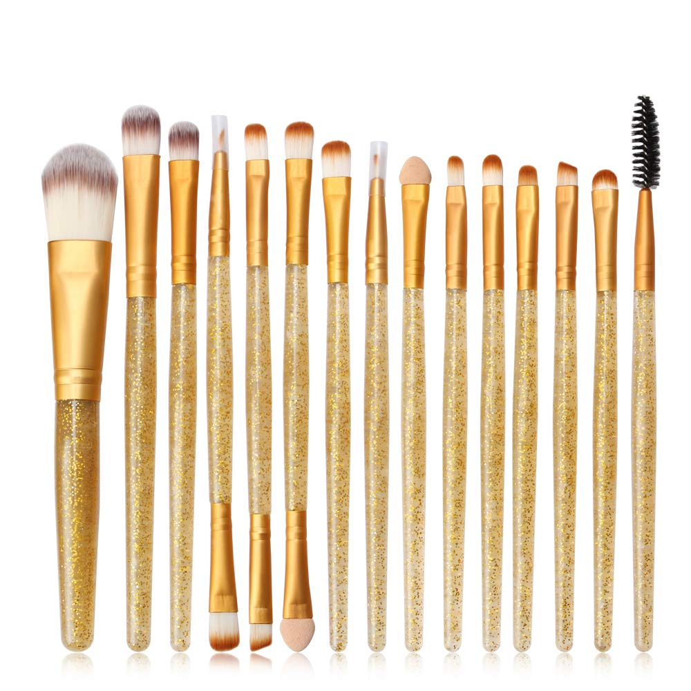 New Eye Makeup Brushes Set, Tenmon 15 Pieces Professional Cosmetics Brush, Eye Shadow, Concealer, Eyebrow, Foundation, Powder Liquid Cream Blending Brushes Set with Crystal Handles (Gold)