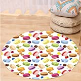 VROSELV Custom carpetColorful Traditional French Macarons with Berries Lemons Almonds Pistachios and Chocolate for Bedroom Living Room Dorm Multicolor Round 72 inches
