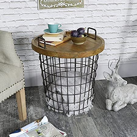 Melody Maison Industrial Retro Style Metal Storage Basket Table