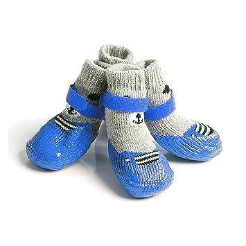 GFEU Calcetines impermeables antideslizantes para perro, suela de goma duradera, zapatos de protección contra huellas de perro para cachorro de perro ...