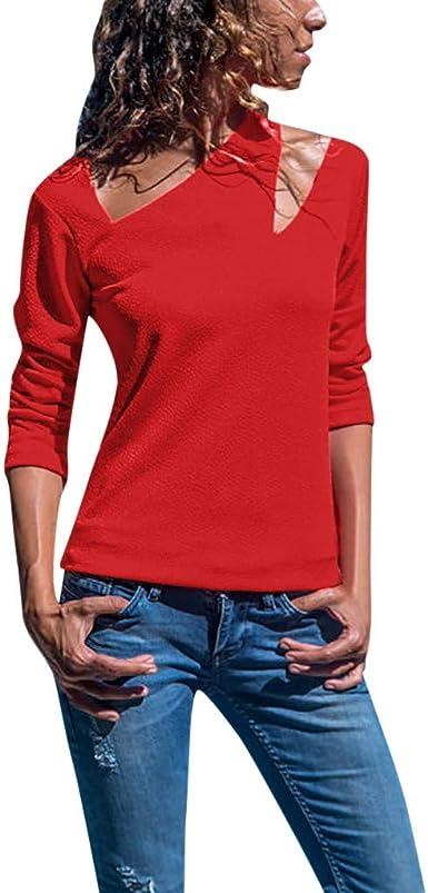Camisa De Moda Casual De Las Mujeres Superior Hueco ...