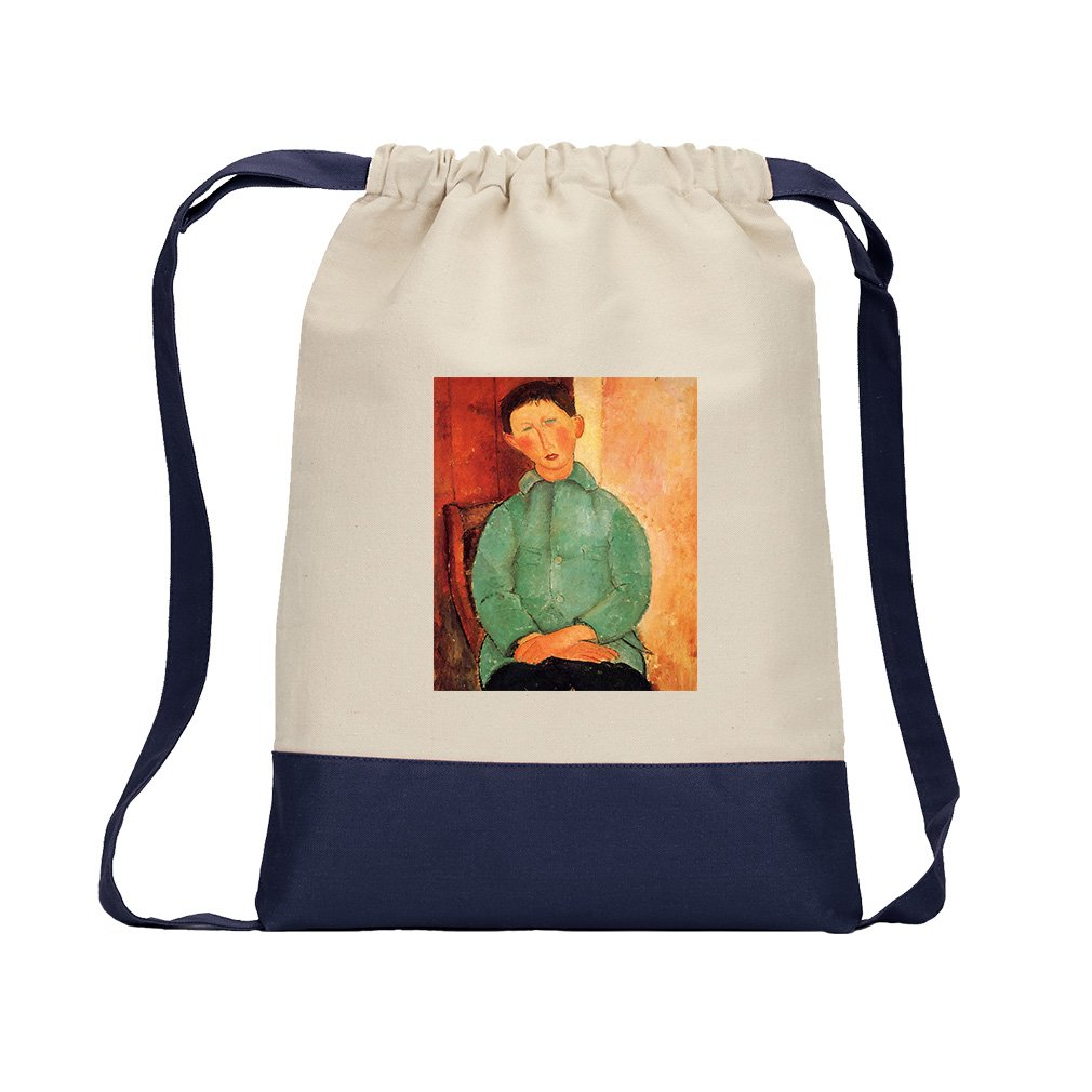 Boy In A Blue Jacket #2 (Modigliani) Canvas Backpack Color Drawstring - Navy