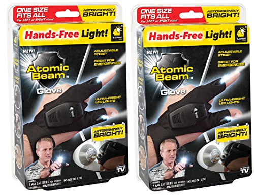 Atomic Beam Glove by BulbHead Adult One Size Fits All Glove With Ultra-Bright Thumb And Pointer Finger LED Lights (2 Pack) (Led Lights Gloves)