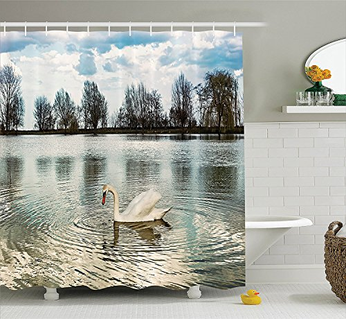 [Animal Decor Collection Swan Swimming Alone in Water Reflection Winged Feather Bird in Her Habitat Nature Design Polyester Fabric Bathroom Shower Curtain Set with Hooks Blue White] (Shell Soon See Her Feet)