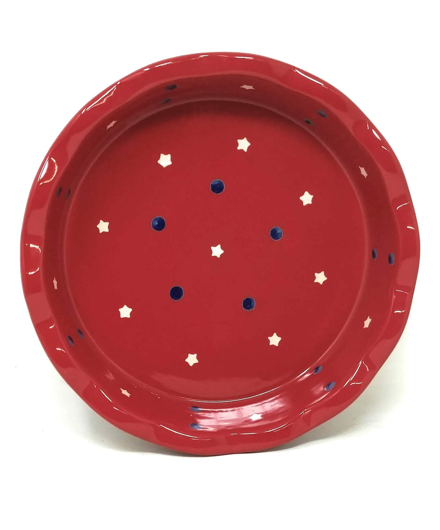 Temp-tations Red, White & Blue 10'' x 2.25'' Pie Pan, Scalloped, Deep Dish Pizza or Quiche (Red) by Stoneware (Image #2)