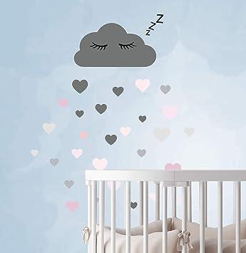 60 Teile Wolken mit Gesicht Wandtattoo Kinderzimmer Set - Rauhfaser ...