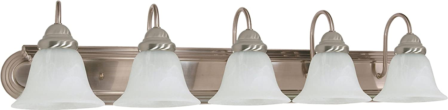 Filament Design 7777922323 5-Light Brushed Nickel Vanity Light with Alabaster Glass Bell Shade,