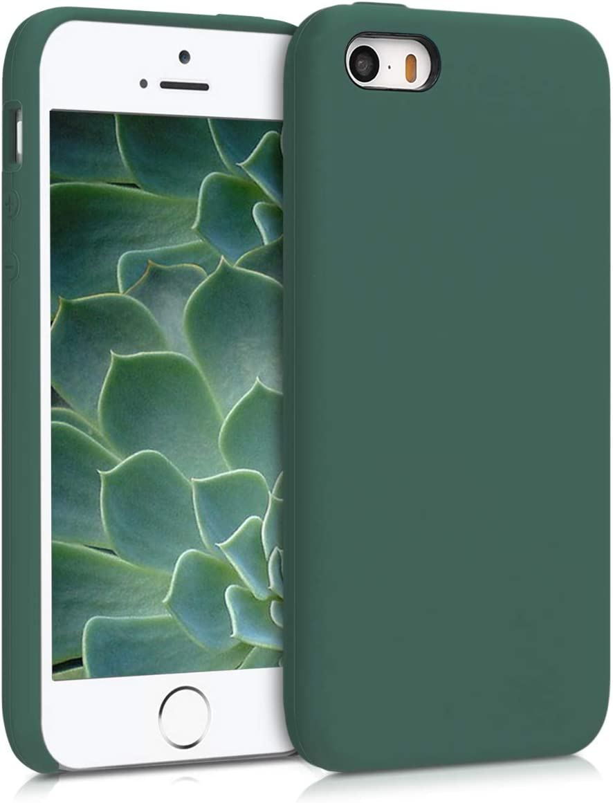 kwmobile TPU Silicone Case Compatible with Apple iPhone SE (1.Gen 2016) / 5 / 5S - Soft Flexible Rubber Protective Cover - Forest Green