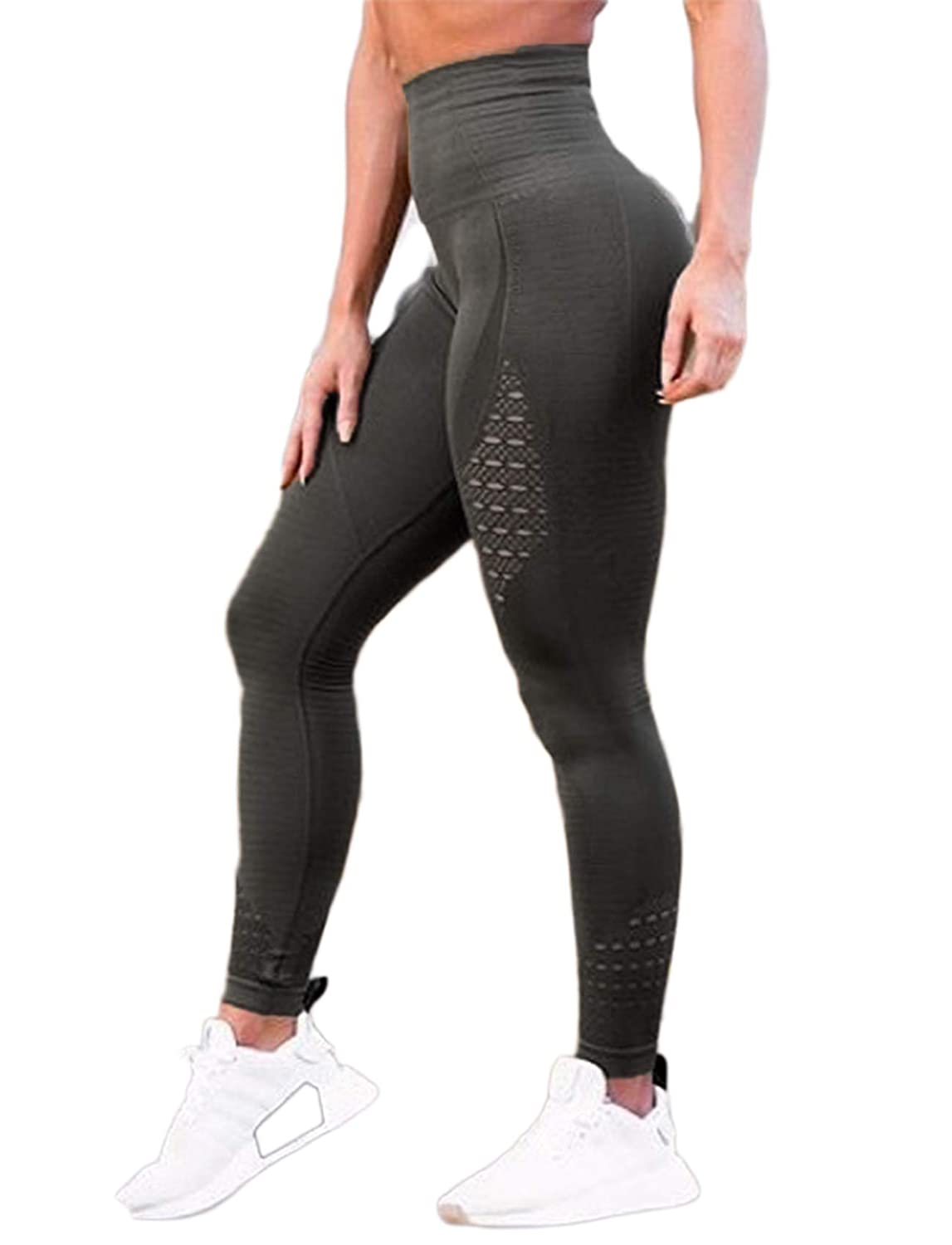 Amazon.com  SEASUM Women s High Waist Active Leggings Slimming Seamless  Compression Fit Pants Workout Tights with Mesh  Clothing 4657a6ecd2