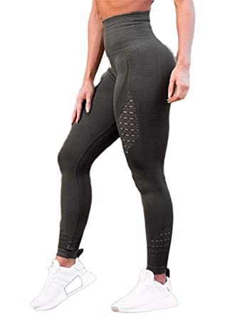 59c520038b4a84 SEASUM Women's High Waist Active Leggings Slimming Seamless Compression Fit Pants  Workout Tights with Mesh S