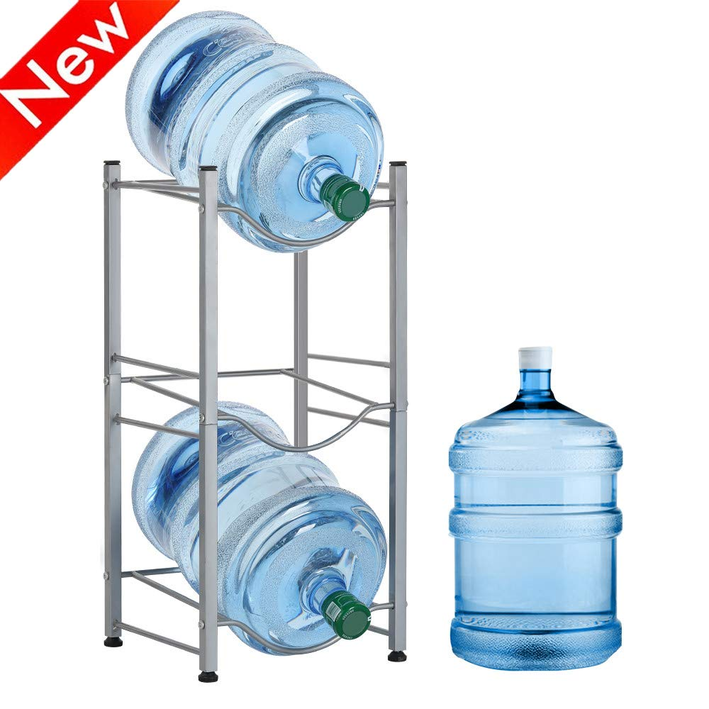 Nandae Water Cooler Jug Rack, 3-Tier Heavy Duty Water Bottle Holder Storage Rack for 5 Gallon Water Dispenser, Save Space (3-Tier, Silver) by Nandae