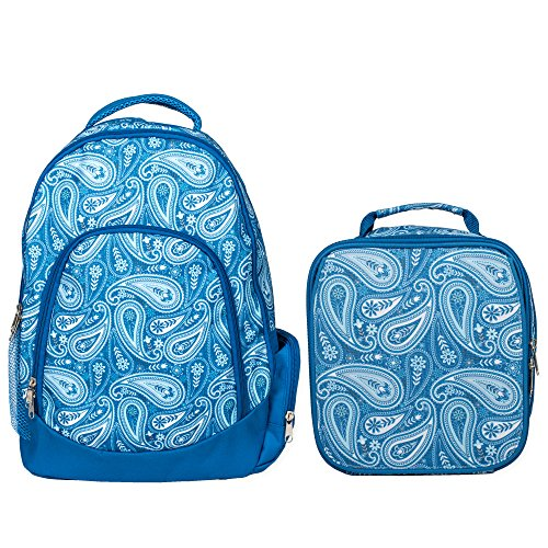 Reinforced Water Resistant School Backpack and Insulated Lunch Bag Set-Vintage Blue Paisley