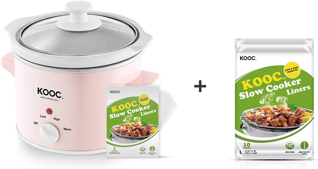 [Bundle Group] KOOC 2-Quart Slow Cooker (with 5 Bonus Free Liners) + Additional 1 Pack of 10 Liners for Easy Clean-up, Upgraded Pot, Adjustable Temp, Nutrient Loss Reduction, Stainless Steel