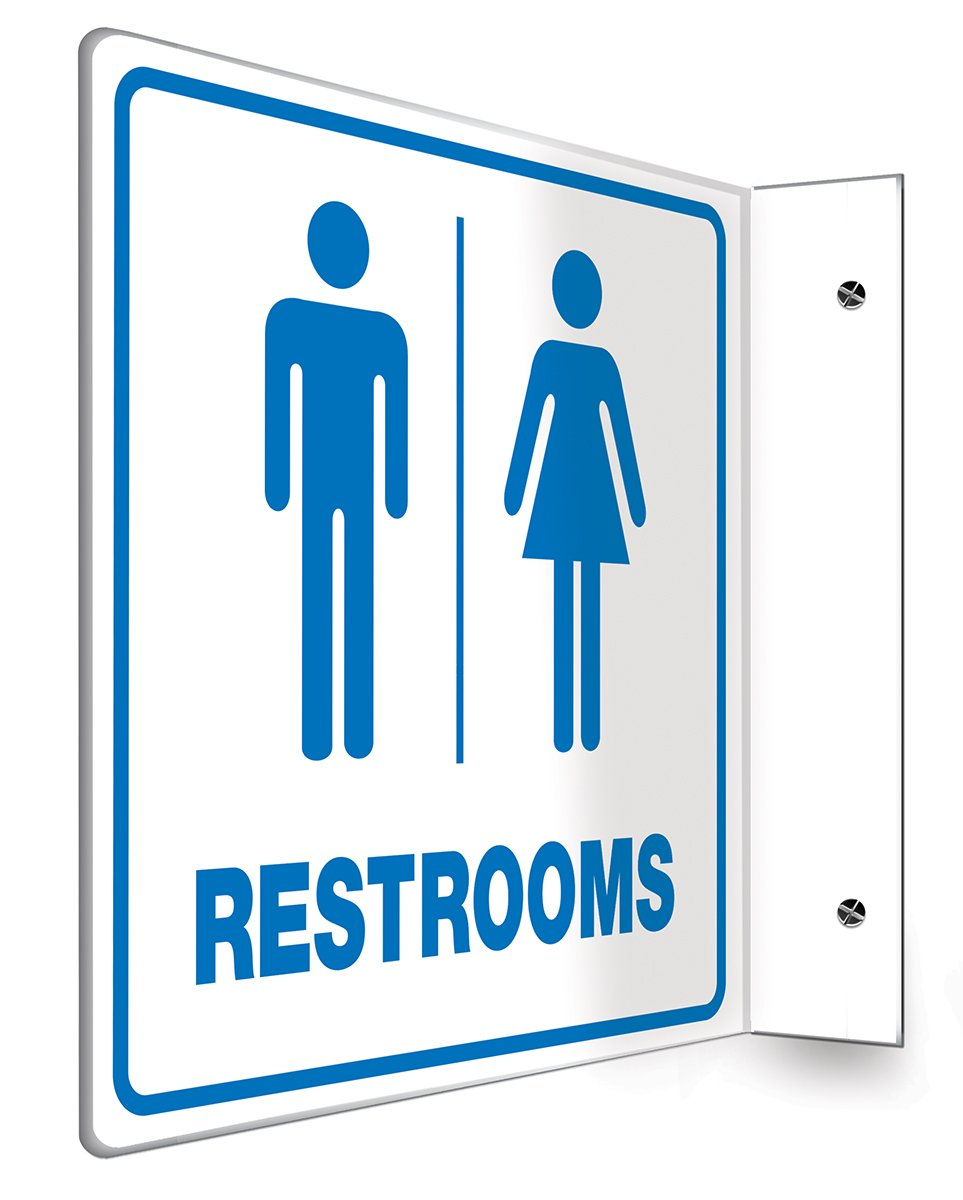 """Accuform PSP741 Projection Sign 90D, Legend""""RESTROOMS"""", 8"""" x 8"""" Panel, 0.10"""" Thick High-Impact Plastic, Pre-Drilled Mounting Holes, Blue on White"""