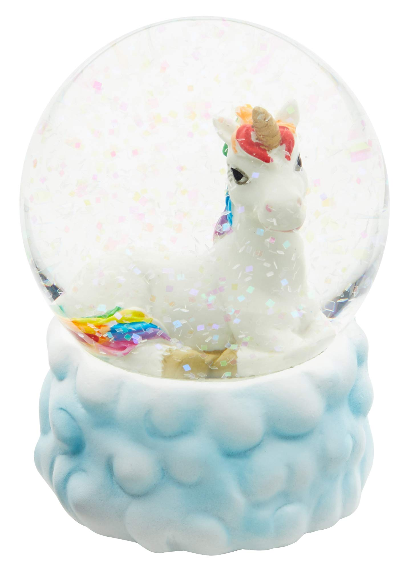 Cepewa White Unicorn with Rainbow Main and Tail Water Snow Globe with White Cloud Base, 65mm by Cepewa