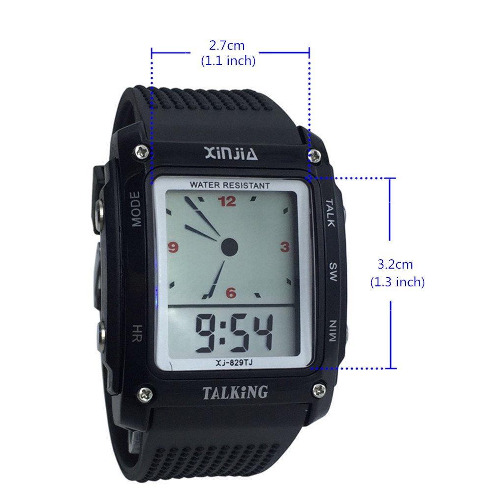 Nergo Reloj Parlante en Español para Ciegos, Niños, y Los Ancianos, Deportes Electrónicos Hablar Relojes Gatget Regalo (829TS-BLK): Amazon.es: Relojes