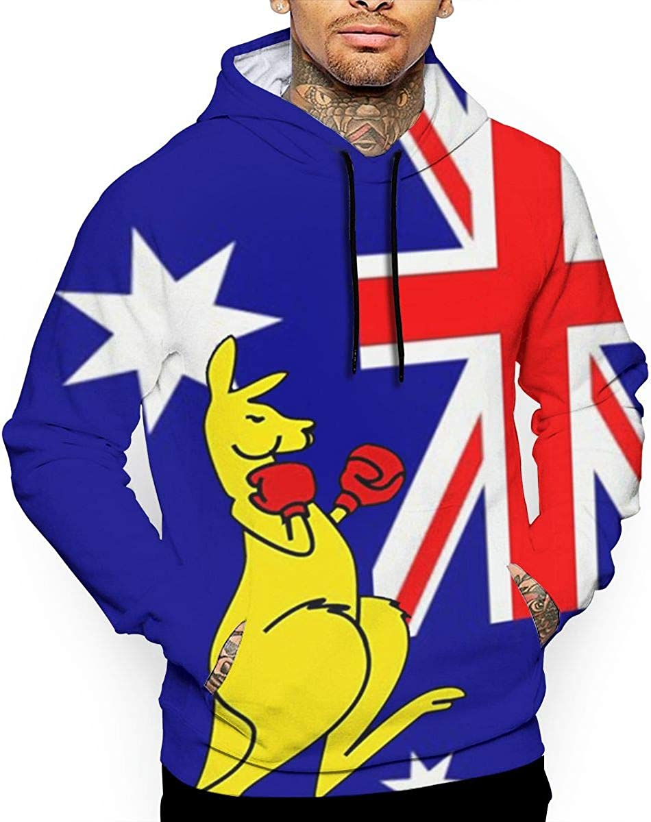 Mens Hoodies Australian Kangaroo Boxing Full Print Sweatshirt Pullover Jackets Hooded