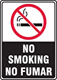 """Accuform Signs SBMSMK509VA Aluminum Spanish Bilingual Safety Sign, Legend """"NO SMOKING/NO FUMAR"""" with Graphic, 10"""" Length x 7"""" Width x 0.040"""" Thickness, Red/Black on White"""