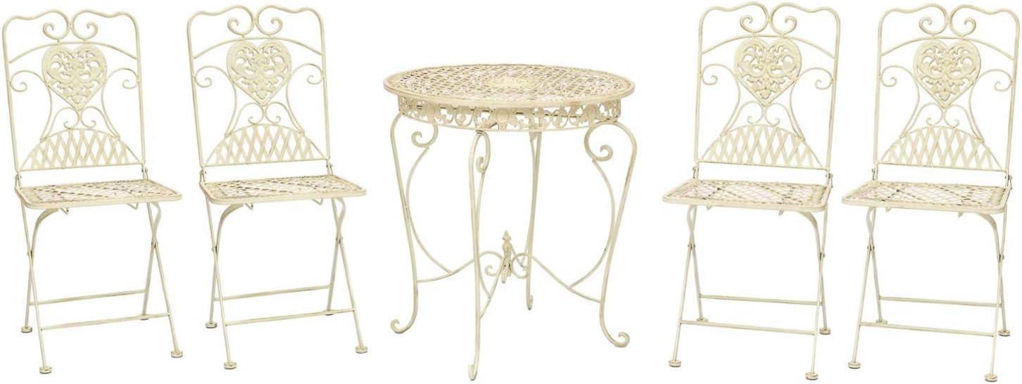 aubaho Mesa y 4 sillas Mesa de Bar de Hierro Blanco Marfil Muebles de jardín de Estilo