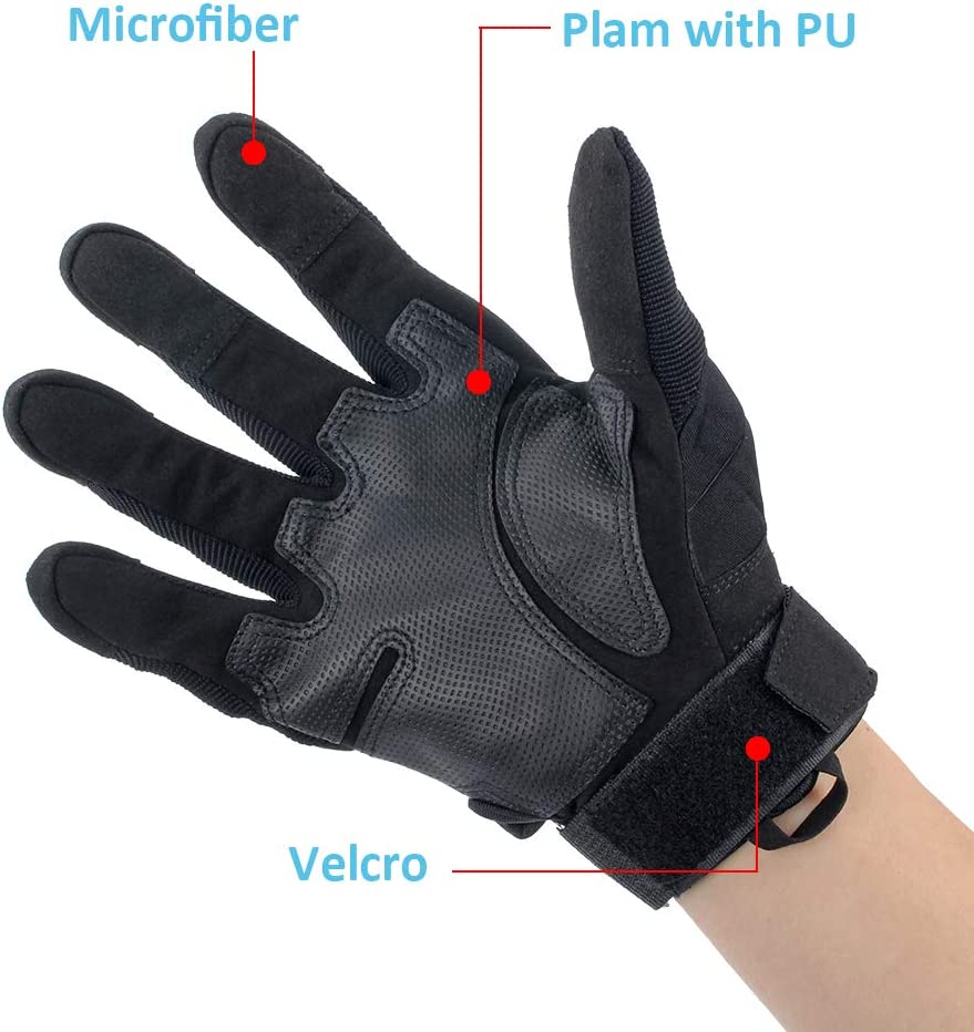 LALATECH Motorbike Gloves Black, XL Touch Screen ATV Riding Gloves Motorcycle Mens Motorcycle Riding Gloves Full Finger Motorcycle Gloves Men