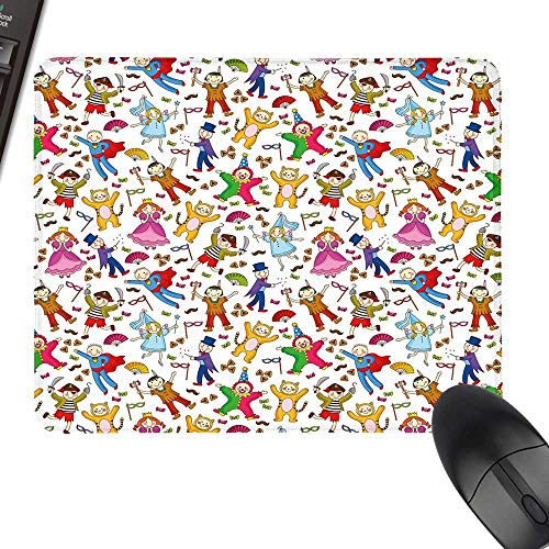 Kids Gaming Mousepad Native American Pirate Princes Cat Costume Wearing Children Pattern Colorful Abstract with Stitched Edges 23.6