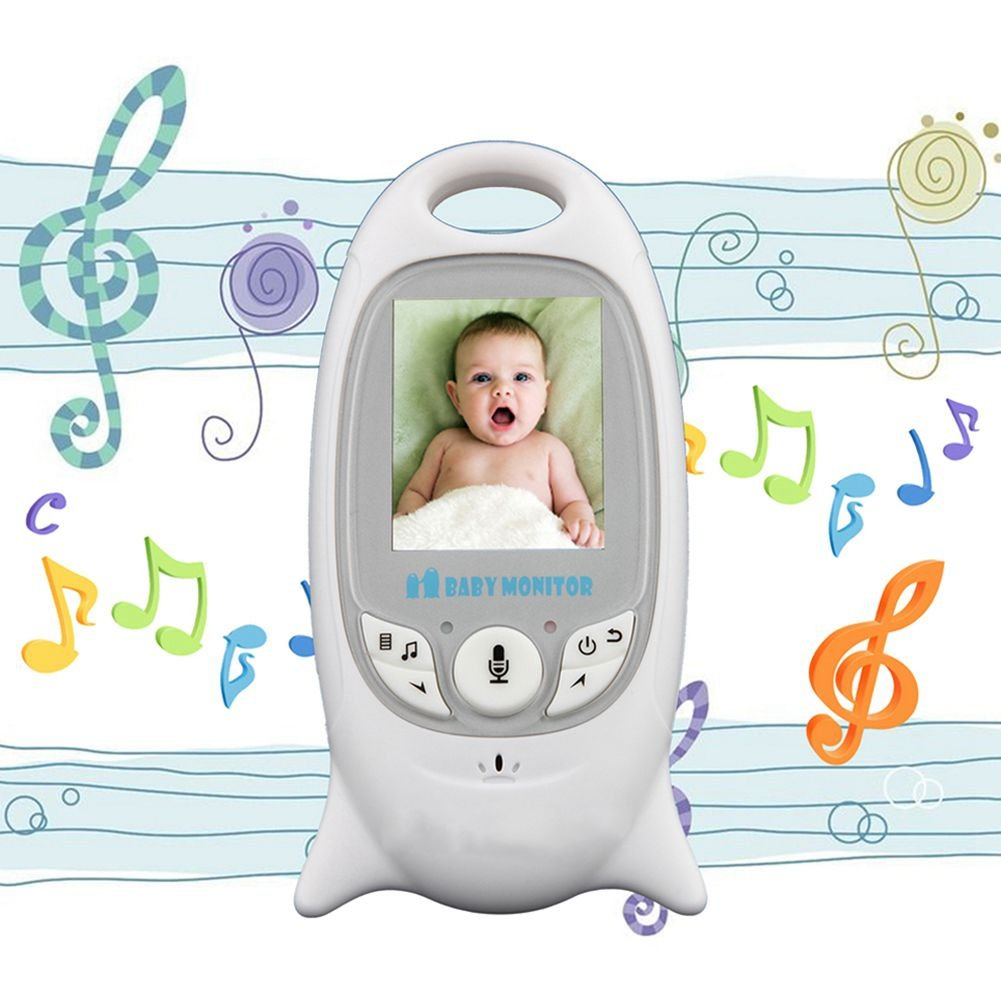 SODIAL UE Moniteur de video sans fil blanc de sommeil pour bebe avec camera Securite electronique de bebe 2 interphone Surveillance de temperature LED IR de vision nocturne