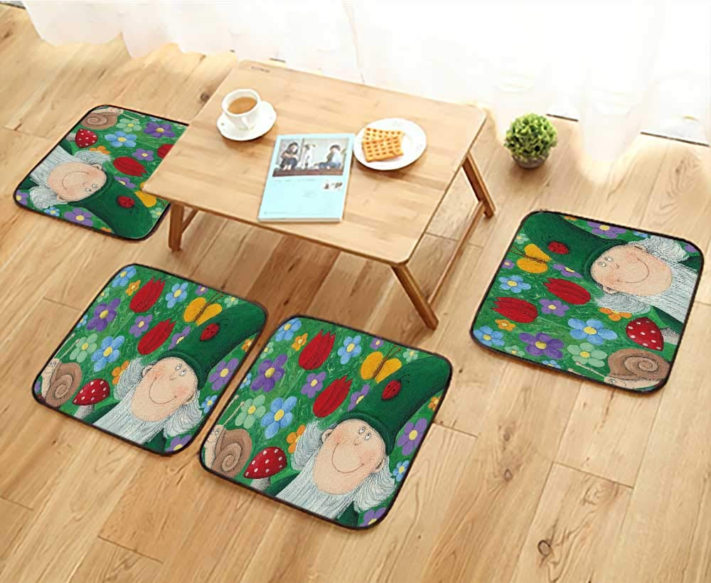 Jiahonghome Chair Cushions of Garden Dwarf Non Slip Comfortable W25.5 x L25.5/4PCS Set
