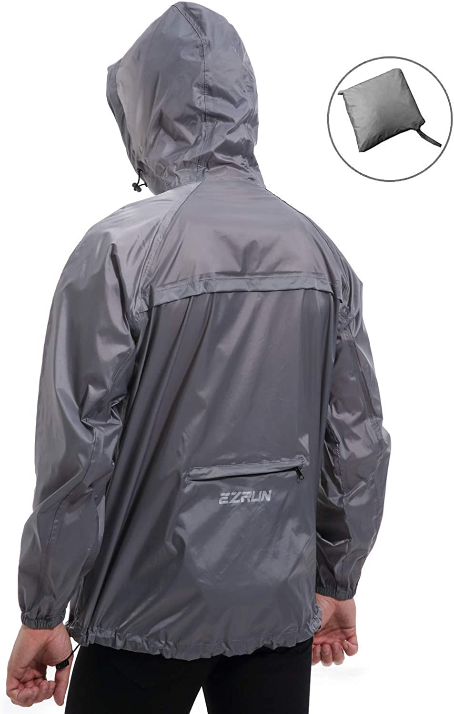EZRUN Mens Waterproof Hooded Rain Jacket Windbreaker Lightweight Packable Raincoat