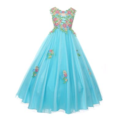 5d1a37995c4 Little Girls Aqua Pink Floral Embroidered Lace Tulle Flower Girl Dress 4