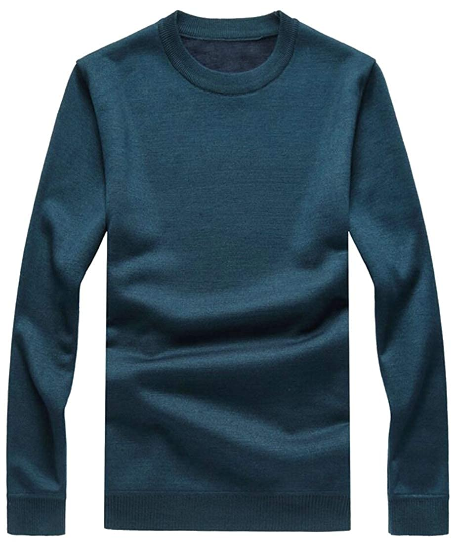 Alion Mens Knitting Winter Solid Color Faux Fur Lined Slim Thicken Pullover Sweaters
