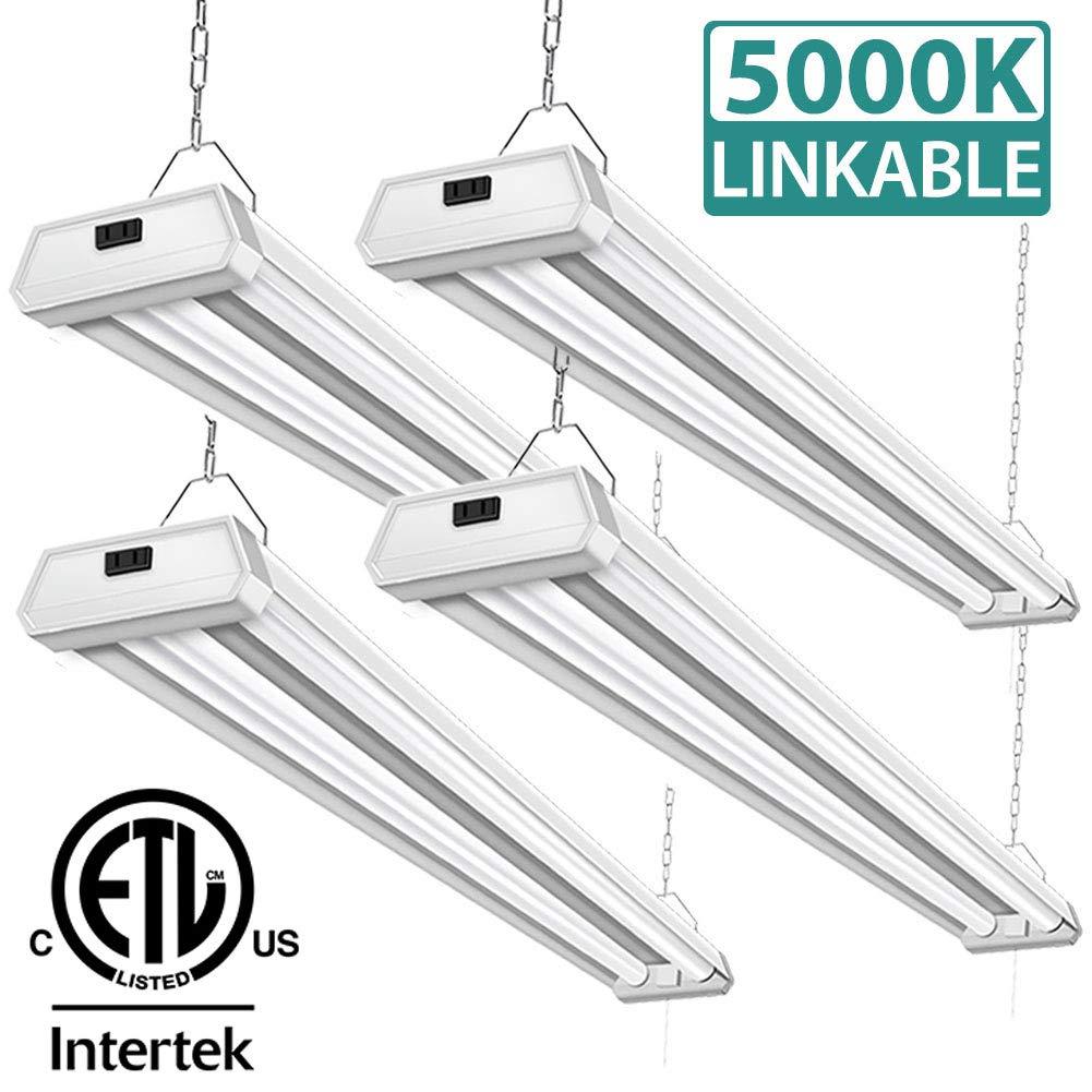 4 pack 42w linkable led shop lights addlon 4ft 48 inch 5000k led garage ceiling lighting 300w equivalent double integrated florescent lights fixture