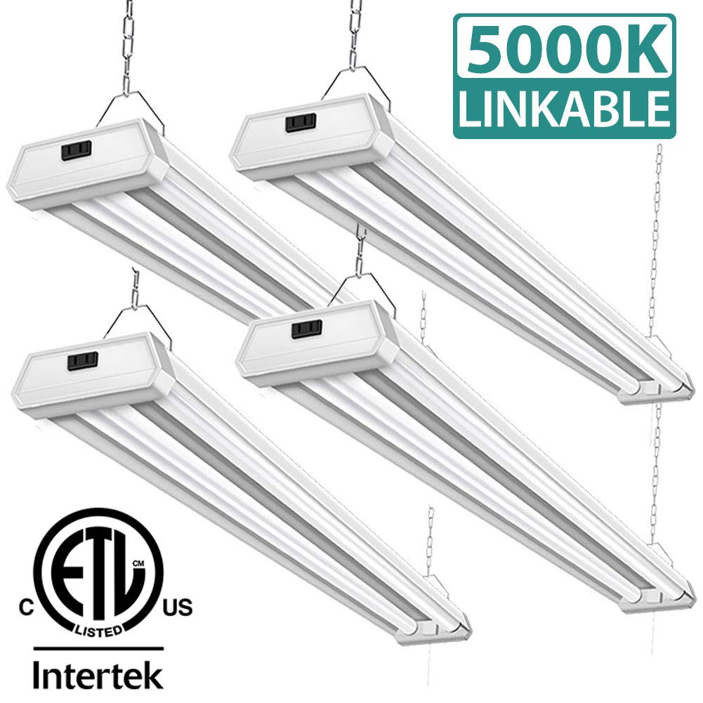 4 Pack 42W Linkable LED Shop Lights Addlon 4ft 48 Inch 5000K Led Garage Ceiling Lighting, 300W Equivalent Double Integrated Florescent Lights Fixture with Pull Chain Mounting by addlon (Image #1)