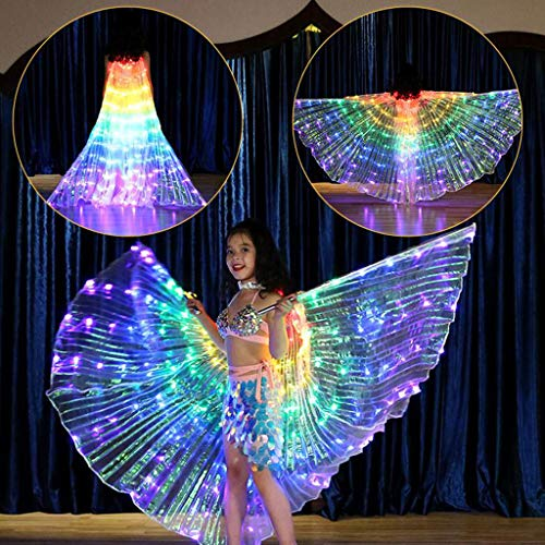 LED Belly Dance Wings for Kid Girl, Butterfly Shawl Fairy Ladies Cape Nymph Pixie Costume Accessory with Telescopic Sticks for Festival Performance by Show TINE ON (Multicolor,A1) (A1 Polyester)