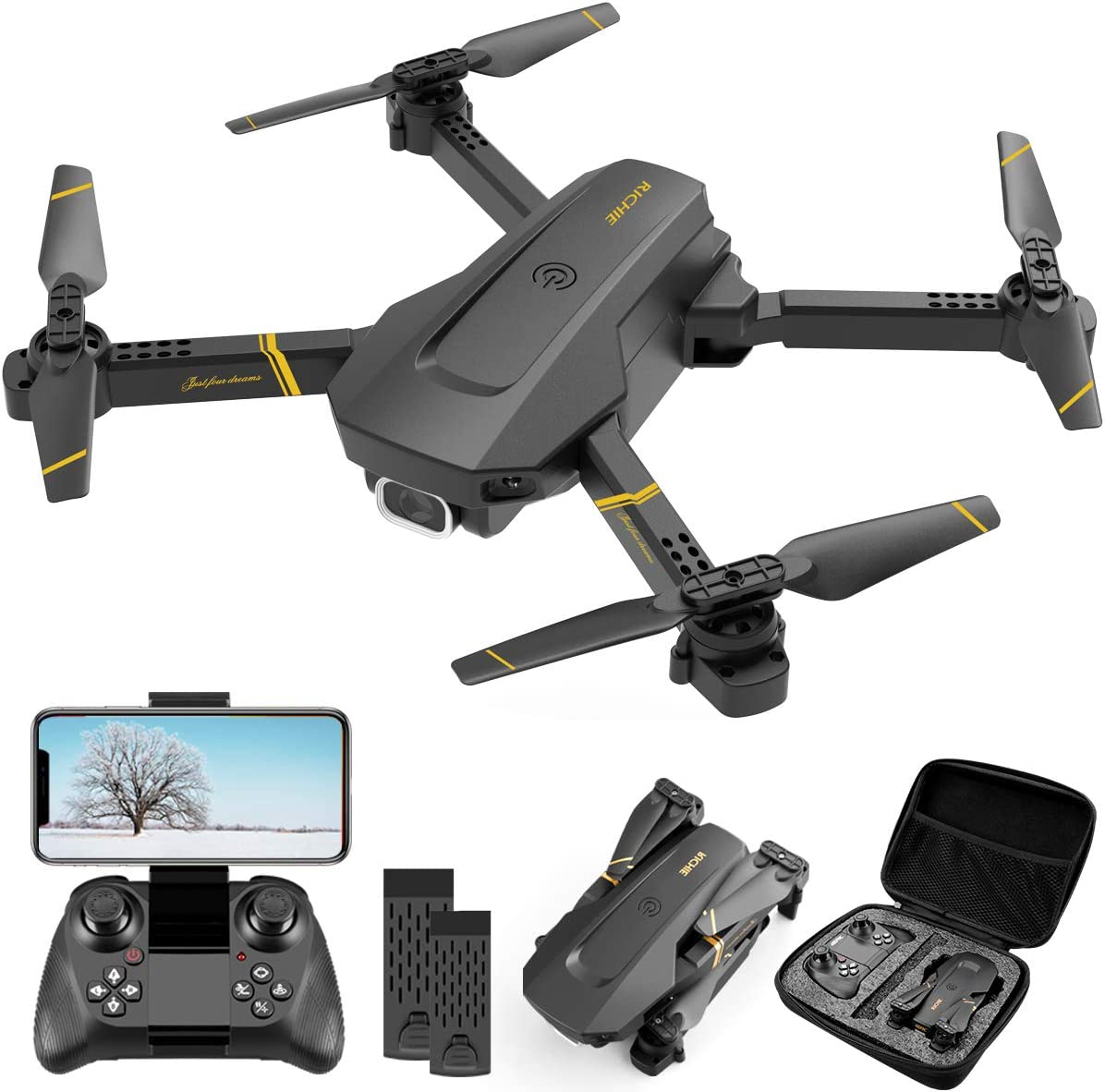 4DRC V4 Drone with 1080P HD Camera for Adults and Kids, Foldable Quadcopter with Wide Angle FPV Live Video, Trajectory Flight, App Control,Optical Flow, Altitude Hold and 2 Modular Batteries
