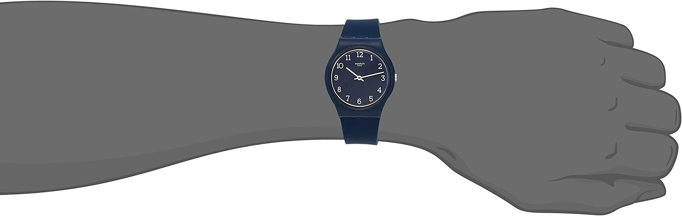 ec422ffb37e Amazon.com  Swatch Originals Blueway Blue Dial Silicone Strap Unisex ...