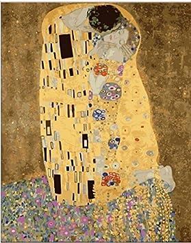 YEESAM ART Nueva Pintura para números para Adultos y niños - Kiss Beso 40x50cm en Lino - Pintura Digital de Bricolaje por Kits de números sobre Lienzo