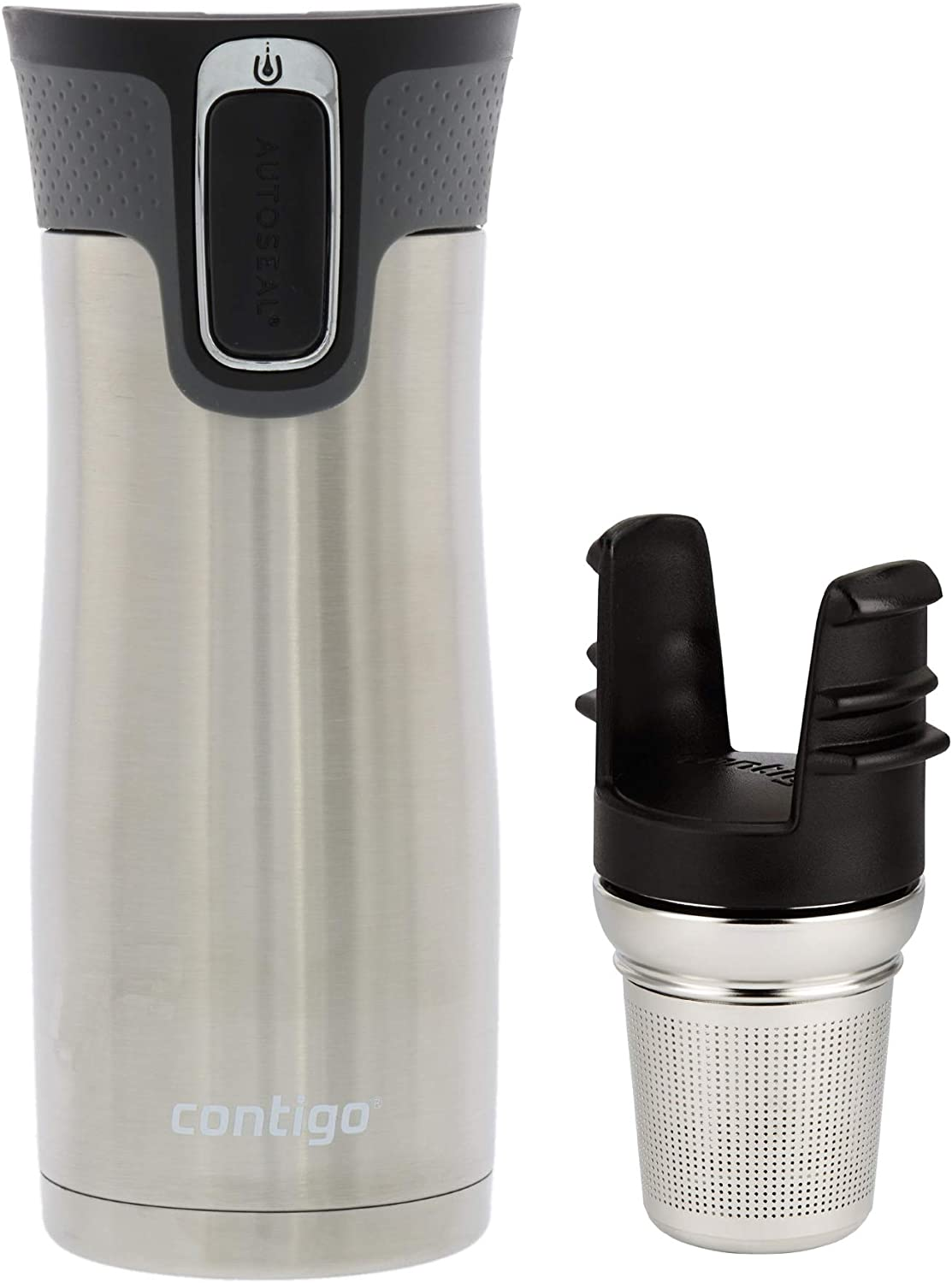 Contigo Autoseal West Loop, 16 oz with Contigo Stainless Steel Tea Infuser – Vacuum Insulated Stainless Steel Thermal Coffee Travel Mug – Autoseal Prevents Spills and Leaks