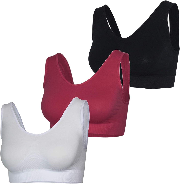 GLOMY Set de 3 Piezas Sujetador Push-up Acolchado para Deportes//Yoga y Ocio