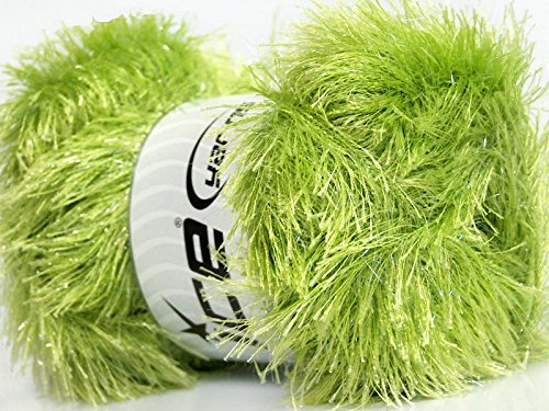 Large 100 gram skein Light Green Eyelash Glitz Ice Sparkly Eyelash Yarn (Green Lime Yarn Eyelash)